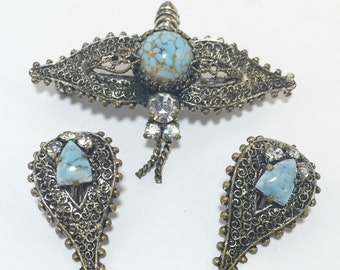 Vintage Dragonfly Brooch and Earrings Set Silver and Turquoise Pin and Clip on Earrings 1930s Butterfly