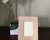 Decoupage peach/pink gold picture frame - 4x6 - Gift - Christmas - Holiday