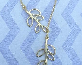 Gold leaf lariat necklace, Y necklace, tree necklace, boho necklace, silver necklace, leaf necklace, bird necklace