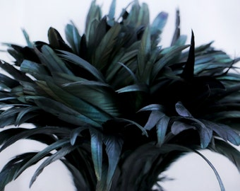 """Black 8"""" - 10"""" dyed strung rooster tail  feathers"""