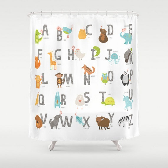 Kids Shower Curtain Alphabet Animal Letters Zoo Animals Baby Children ...