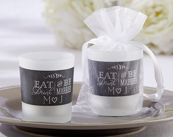 Personalized Frosted Glass Votives-Eat, Drink & Be Married (Set of 24)