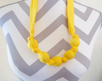 Fabric Teething Necklace - Bright Yellow, Breastfeeding Necklace, Nursing Necklace