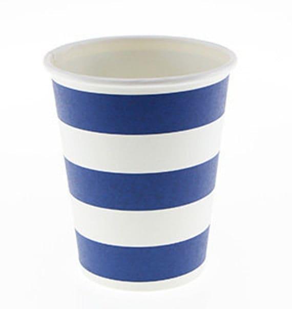 navy blue candy stripe paper cups set of 12 sambellina navy. Black Bedroom Furniture Sets. Home Design Ideas