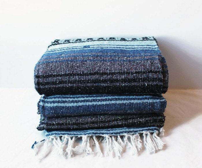 Mexican Beach Blanket: MEXICAN BLANKET // Beach Yoga Adventure Blanket Slate Blue