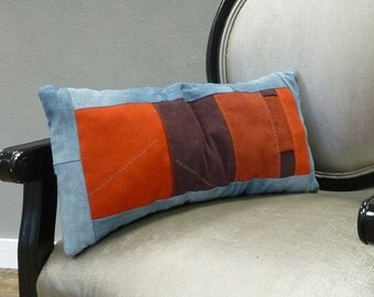 Recycled jeans with red corduroy pillow