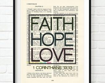 Vintage Bible page verse scripture - Faith Hope Love - 1 Corinthians 13:13 ART PRINT, UNFRAMED, dictionary, Wedding gift, christian gift