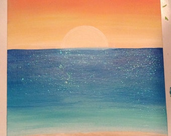Simple Sunset & Beach Painting