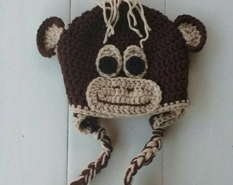 Monkey hat, crochet hat, animal hat, character hat, winter hat, baby, toddler, boy, girl, photo prop hat