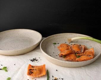 2 HANDMADE White  stoneware ceramic pasta plates