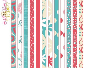 Coral and Turquoise Washi Strip Stickers