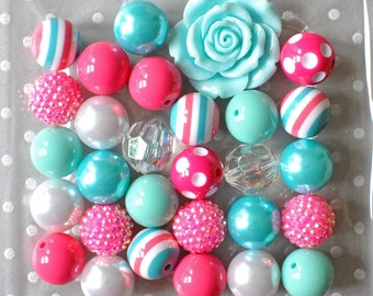 Hot pink and aqua chunky necklace kit, Bubble gum beads, Chunky bead kit, Pink and aqua 20mm Bubblegum bead kit, Girls stocking stuffer gift