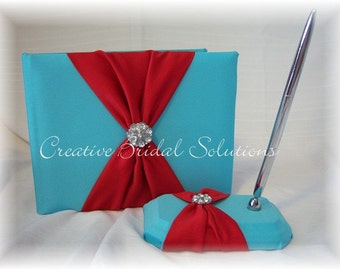 Aqua Blue and Red Wedding Guest Book and Guest Pen Set