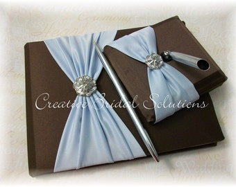 Brown and Light Blue Wedding Guest Book and Guest Pen Set