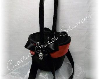 Gothic Black and Red Halloween Skull Wedding Flower Girl Basket- Romona, Goth Wedding
