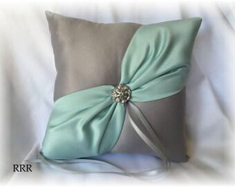Gray and Mint Wedding Ring Bearer Pillow, Silver Ring Pillow, Mint Ring Pillow, Gray Ring Pillow, Mint Wedding Pillow
