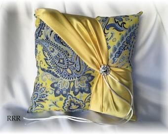 Yellow and Blue Wedding Ring Bearer Pillow, Yellow Ring Pillow, Blue Ring Pillow, Paisley Ring Pillow, Yellow Wedding Pillow, Spring Pillow