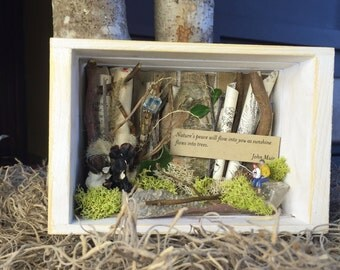 John Muir Shadowbox Assemblage,  Small Nature Collage, Fishing Theme Shadowbox
