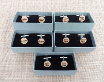 Personalised Oak Cuff Links