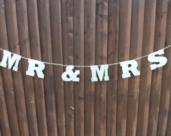 Mr & Mrs Wood Wedding Rustic Bunting in Silver ***Now half price***One Only****