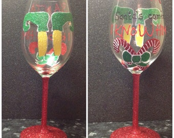 Buddy the elf inspired glitter wine glass. Perfect Christmas gift