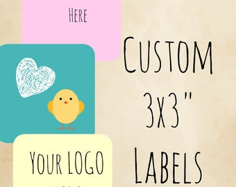 "Custom Labels 100 3"" x 3"" (INCHES) Completely Customizable Stickers , Labels Candle Label , jewelry label,product labels , product stickers"