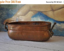 25% Sale Vintage French Jardiniere, Rectangular Copper Planter with Brass, Herb Planter,Decorative Metal Plant Pot Holder Copper Jardiniere
