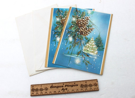 Vintage Blue Christmas Cards Pine Cone And Tree Holiday