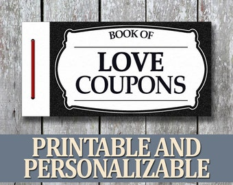Printable Love Coupon Book, Anniversary Coupon Gift for Him, DIY Boyfriend Gift, Last Minute Gift for Husband, PDF Boyfriend Birthday Gift