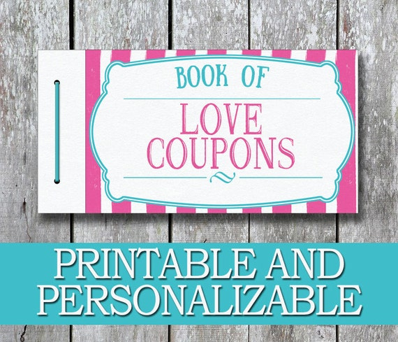 Printable Love Coupon Book DIY Gift For Her Anniversary Gift