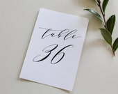 Calligraphy Table Numbers, wedding table number, calligraphy table number, script table number, simple table numbers, table number