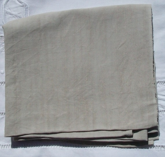Beautiful Vintage French Fabric Hemp Woven tea stained linen Taupe Material
