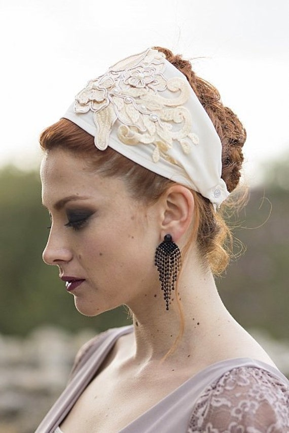 Cream Headband/Off White Floral Headband/Ivory Church Hat/Rustic Winter Wedding Crown/Flower Applique/Elegant Headband/Tichel Hair Cover