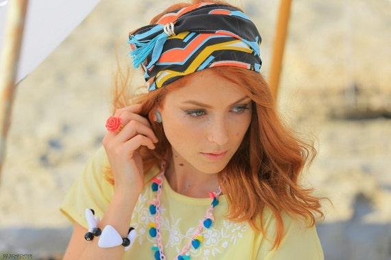 Zig Zag Stripe Headband Women's Fitness & Yoga Class Bold Color Print Hairband Geometric Chevron Pattern Weekend Hair Christmas Party Hair