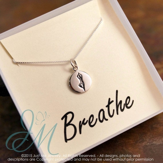 Yoga Jewelry / Breathe Necklace / Sterling Silver / Tree Yoga Pose Charm