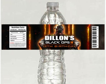 10 printed Call of Duty Black Ops Birthday Water Bottle Label