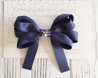 Luxurious satin hair bow- loyal blue hairbow - boutique hairbow - dark blue bows - uniform hairbow - blue bows