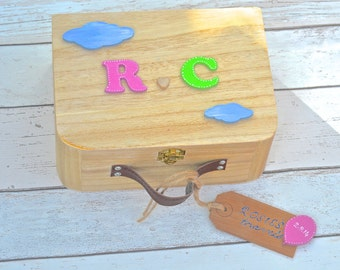 Personalised Children's Keepsake Wooden Suitcase Baby's Firsts first birthday gift New Baby Christening Gift