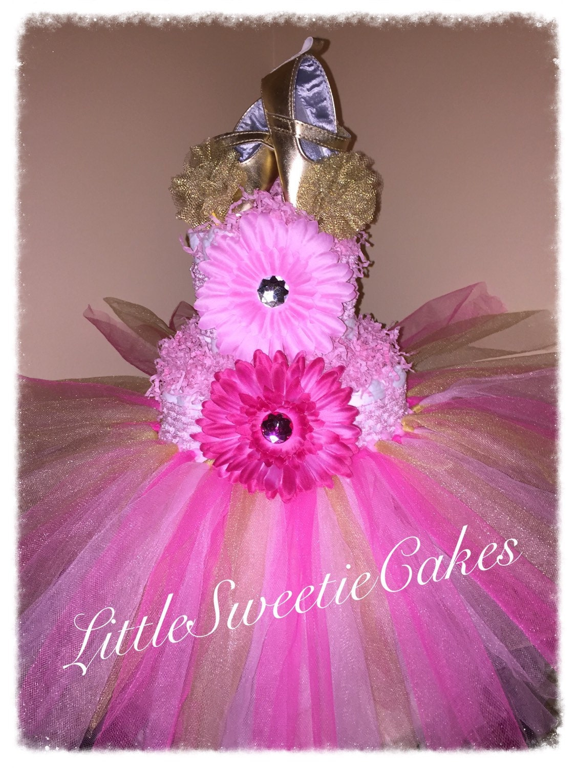 Pink And Gold Tutu Centerpiece : Tier pink and gold tutu diaper cake princess