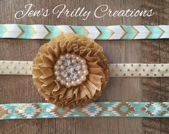 Mint, gold, and cream interchangeable headbands