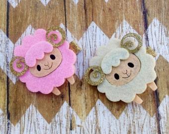 Felt Sheep Hair Clip, Hair Bows, Hair Accessories, Baby Bows, Baby Bow Clip, Baby Hair Clip, Pink and Gold Birthday, Glitter Hair Clip