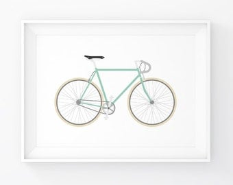 Mint Bicycle Poster. Bike Print. Bicycle Wall Art. Home Wall Art. Cycling Art. Printable Bike Poster. Home Wall Decor. Instant Download