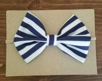 Navy striped bow