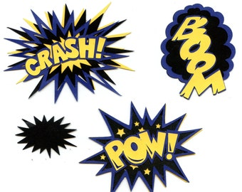 Batman/ Superhero Sound Effects Scrapbook Die-Cut emblishment with Bonus