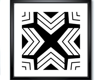 Modern Art Prints, Black And White Geometric, Inward, Printables, Downloadable, Psychedelic Pattern, Digital Prints
