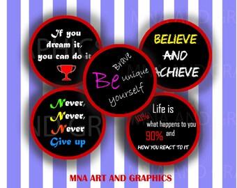 Inspirational bottle cap images, motivational quotes bottle cap IMAGES 1 inch - Quotes bottle cap Collage Sheet  1 Inch Circles