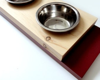SALE - Modern feeder Small, Cat or small dog bowls, Wood and red, Minimal design, animalove