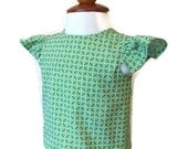 Green Flutter Sleeve Shirt / Baby Girl Shirt / Summer Shirt / 3 Months