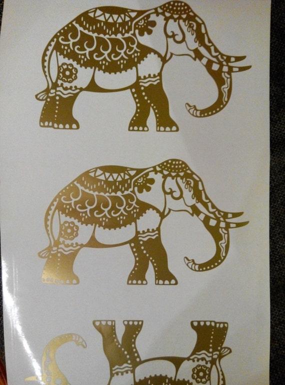 Gold Elephant Wall Decor : Elephant wall decal sticker car by
