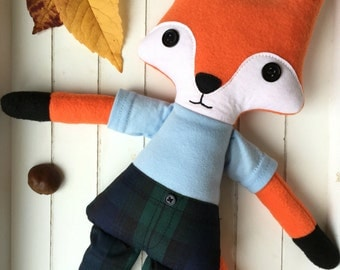 Mr Fox rag doll, cloth doll - READY TO SHIP